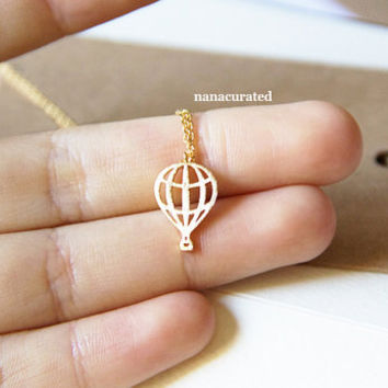 Air Ballon Tiny Charm Necklace,  GoldPlated Charm Necklace, GoldPlated Necklace, Hipster, Instagram, Holiday Gifts, Tiny Charm Necklace