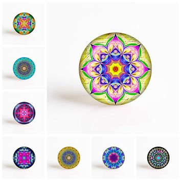 Lotus Mandala Flower DIY 25mm Glass Cabochon for Necklace Pendant Glass Dome Jewelry Accessories
