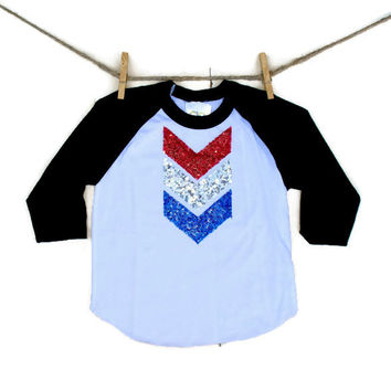 Baseball Raglan Sequin Chevron Shirt - Red White and Blue - Women Infant and Toddler Sizing Available