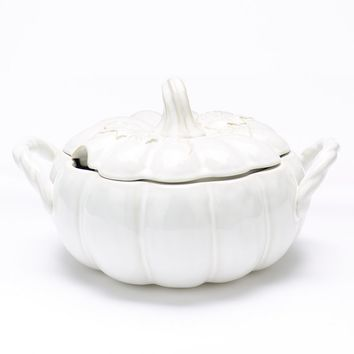 Food Network Harvest Leaf Pumpkin Tureen (White)