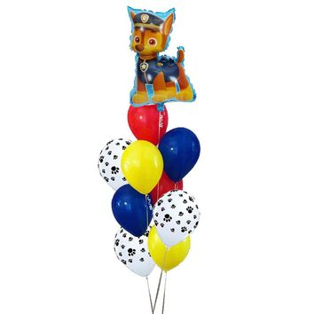 PAW PATROL 10pcs/lot Pink Sky Chase black rose gold Heart Foil balloons Birthday Party decor Helium Globos Toys baby shower