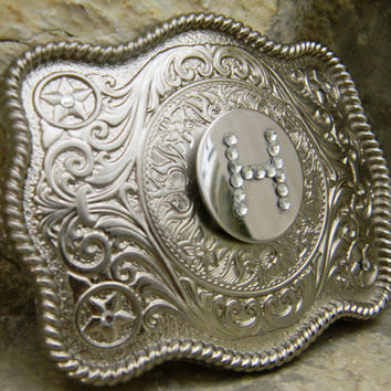 Custom Personalized Monogram Rhinestone Belt Buckle, Silver Belt Buckle, Western Engraved Womens Mens Belt Buckle, Rhinestone Belt Buckle