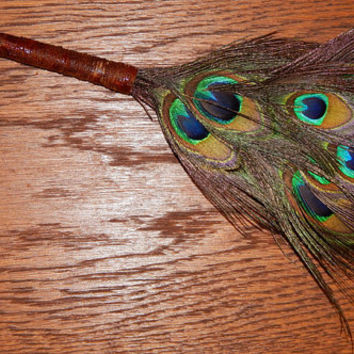 Feather Besom Broom or Smudge Wand - Peacock Feathers with Genuine Garnet and Agate - Rose Wiccan Besom - OOAK - Free Shipping