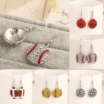 Ball Pendant Drop Earring Cubic Zircon for Ball Game Lovers Workout Jewelry