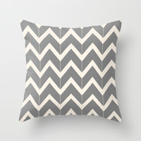 Gray & Ivory Chevron Throw Pillow by Beth Thompson