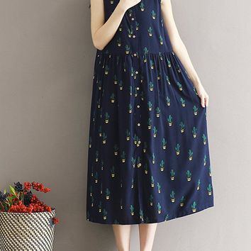 Women Casual Cactus Printed Loose Sleeveless Dresses