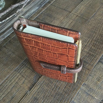 leather binder, brick brown crocodile,  refillable journal, planner binder, leather planner, handstitched, brown planner, binder cover