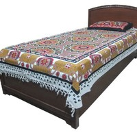 Mogul Tapestry Red Mandala Cotton Bedspread Twin Dorm Decor