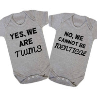 Yes We Are Twins. No We Cannot Be Identical Matching Twin Baby Onesuits