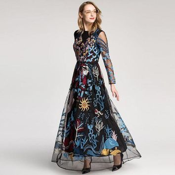 VONE05F8 european style  retro dress colourful embroidered gauze hollow out long sleeved floor length maxi dresses