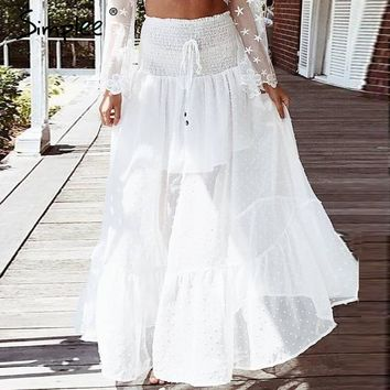 Simplee Mesh dot long skirt women Elastic smocking white lace skirt summer Sexy transparent hight waist maxi skirt 2018