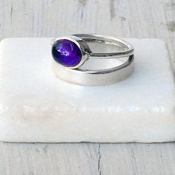 Sterling Silver Double Band Ring with Purple Amethyst, Stacking Ring, Purple Jewelry, Minimalist Ring, Statement Ring, Santorini Jewelry