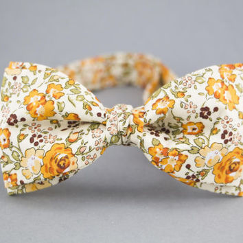 Floral Bow Tie Orange Bow Tie for Men Orange Wedding Bow Tie Groomsmen Bow Tie Cotton Bow Tie Mens Bow Tie Meadow Bow Tie Beige Bow Tie