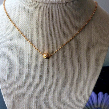 Little Flower  necklace  Minimalist Gold plated  necklace. Ball  Chain Necklace. Layering necklace