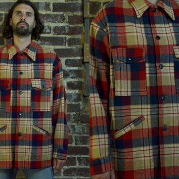 Vintage 60s Pendleton Loggers Mackinaw Style Red Plaid Flannel Shirt
