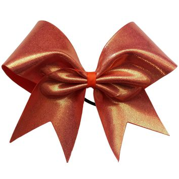 Orange mystique fabric cheer bow.