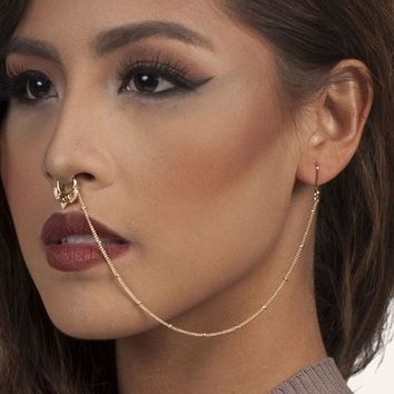 Hot New Design Hollow Fake Nose Rings With Chain Fashion Ear Chain Long Dangle Nose Earrings For Women Unique Body Jewelry