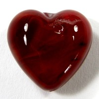 Encased Cubic Zirconia Red Lampwork Glass Heart Bead Air Bubbles 18mm