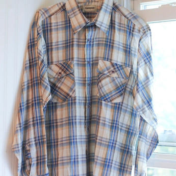 1970s Mens Plaid Button Up Shirt, Rugged Country Western Shirt, Blue Tan Striped, Mens Retro Fashion, Back To School, For Him Campus Shirt,