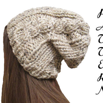 Cable Knit Slouchy Hat Pattern  - Slouchy Hat Knitting Pattern - Size 11 Needle - Knit in the Round - Instant PDF Download