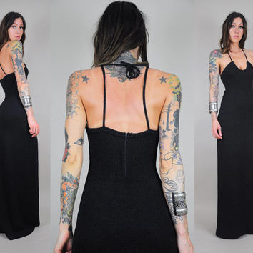 vtg 70s KNIT black maxi dress BACKLESS cut out halter Cut out gown ribbed 60's MINIMALIST scoop bandage tight