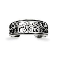 Sterling Silver Antiqued Flower Toe Ring QR1917