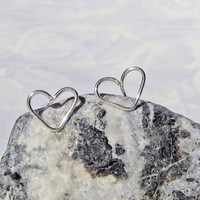 Small Heart Earrings, Stud Earrings, 925 Sterling Silver, Post Earrings, Bridesmaid Jewelry, Love Earrings, Valentine's Gift, Wire Handcraft