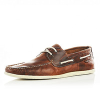 River Island MensTan brown leather boat shoes