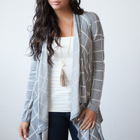 Be There Or Be Square Waterfall Cardigan - Grey/Off White