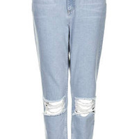 MOTO Baby Blue Ripped Mom Jeans - Baby Blue