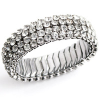 Vintage Rhinestone Bracelet - 1950s Silver Tone Stretchy Expandable Bridal Costume Jewelry / Four Row Faux Diamond Expansion