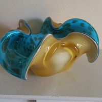Stunning Mid Century art glass dish/two tone glass sculpture /yellow and turquoise free form glass/UK seller/ships worldwide