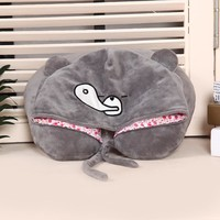 Cute Cartoon Pug Dog and Bear Travel Pillow Soft U Shape Pillow Hooded Neck Support Cushion Outdoor Birthday Christmas Gift