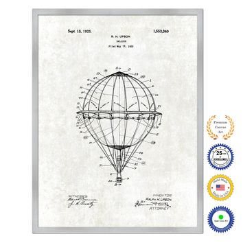 1925 Hot Air Balloon Antique Patent Artwork Silver Framed Canvas Print Home Office Decor Great Gift for Hot Air Balloon Lover