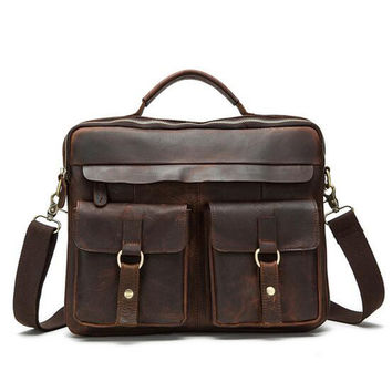 TOP POWER Men Bag Vintage Genuine leather Men Briefcase Handbag Messenger Laptop Bag Men Casual Briefcase Business Shoulder