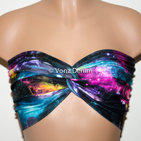 Galaxy Printed Twisted Bandeau, Galaxy Universe Swimwear Bikini Top, Spandex Bandeau Bikini in Black, Fuchsia, Blue, Purple, Orange & Yellow