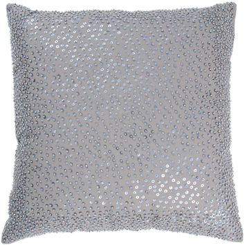 "Beaded Gray Pillow Cover (18"" x 18"")"