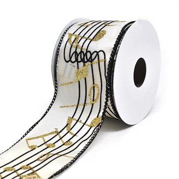 Glitter Musical Notes Wired Edge Christmas Ribbon, Ivory, 2-1/2-Inch, 10-Yard