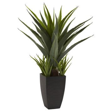 Nearly Natural Agave with Black Planter Decorative Plant | Overstock.com Shopping - The Best Deals on Silk Plants