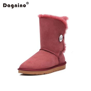 DAGNINO Brand High Quality Australia Warm Natural Sheepskin Real Fur 100% Wool Women Winter Snow Boots Rhinestone Crystal Button