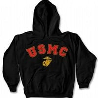 USMC Hooded Sweatshirt - Black with EGA - Adult