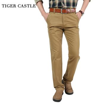 TIGER CASTLE Men Army Tactical Pants Baggy Multi Pockets Brand Male Workwear Casual Khaki Military Long Trousers Cargo Pants