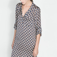 Patterned Long-Sleeve Collared Chiffon Dress