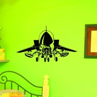 Airplane Wall Decal Vinyl Sticker US Air Force Army Aviation Military Plane Home Decor Interior Design Art Mural Boys Room Bedroom Dorm Z770