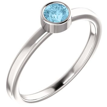 Ben Garelick Round Cut Bezel Set Aquamarine Ring