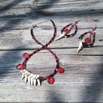 Bone Jewelry Set, Gypsy Jewelry Set , Bone Necklace, Bone Earrings, Gypsy Necklace, Vampire Blood Red Jewelry, Gothic Goth Punk Wiccan Pagan