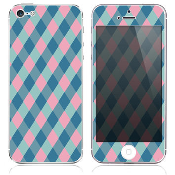 Blue & Pink Plaid Skin for the iPhone 3gs, 4/4s, 5, 5s or 5c