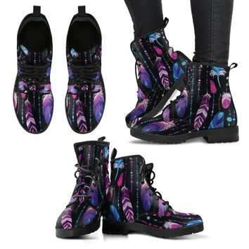 Ethnic Feathers Women's Leather Boots