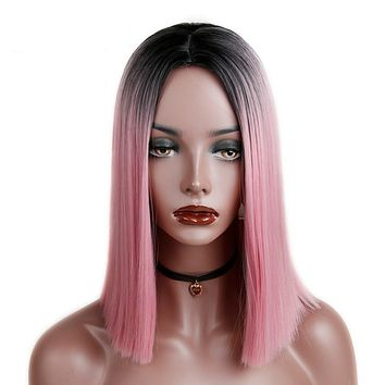 Ombre Pink/Blonde/Grey Short Straight | Synthetic Hair Wig