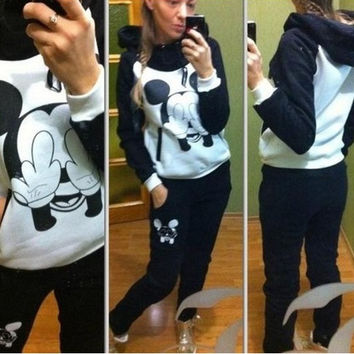 (swearshirt+trousers) Mickey Mouse Sport Suit Animal print Winter Set Womensfleece costume Hoodies Sweatshirts = 1830112644